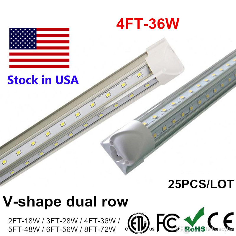 Integrate T8 LED Tube 8ft 6ft 5ft 4ft T8 LED Fluorescent Lamp Light Fit V Shape Cooler Door Lighting SMD2835 100LM/W AC85-265V integrated led tube light t8 1200mm 4ft 18w led fluorescent lamp epistar smd 2835 30pcs lot