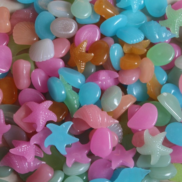 Colorful Fluorescent Seashell Shaped Garden Pebbles Set