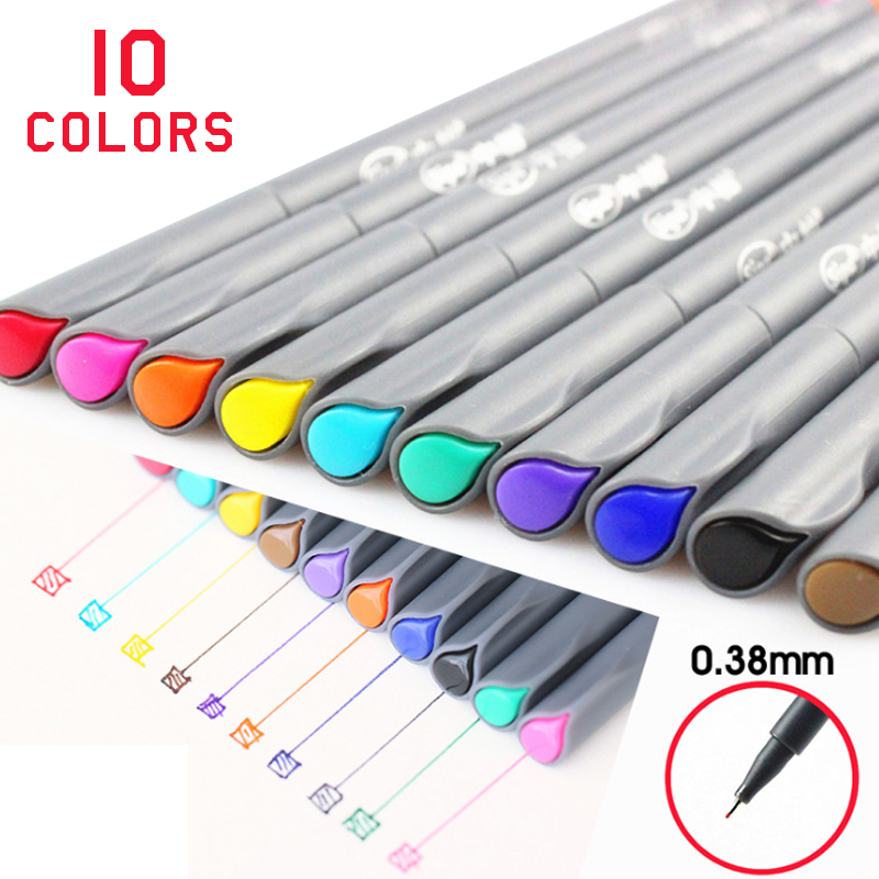 Art Markers Ink 10 Colors/set Animation Stationery Creative Design Supplies 0.38mm Fine Neelde Pen Sketch Cartoon Drawing Pen touchnew 60 colors artist dual head sketch markers for manga marker school drawing marker pen design supplies 5type