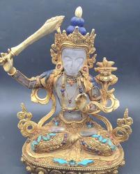 8 ''Tibet Nepal filigraan crystal inlay gold Gem Turquoise hold zwaard Manjusri