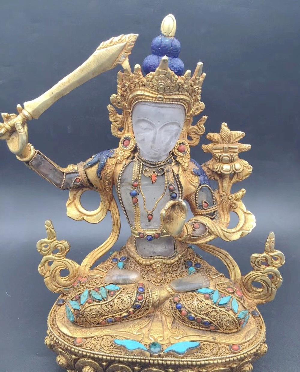 8'' Tibet Nepal Filigree Crystal Inlay Gold Gem Turquoise Hold Sword Manjusri