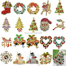 Christmas Brooches Rhinestone Santa Claus Tree Stockings Snowman Bell  Scarf Pins Brooches For Women Wholesale Fashion Jewelry