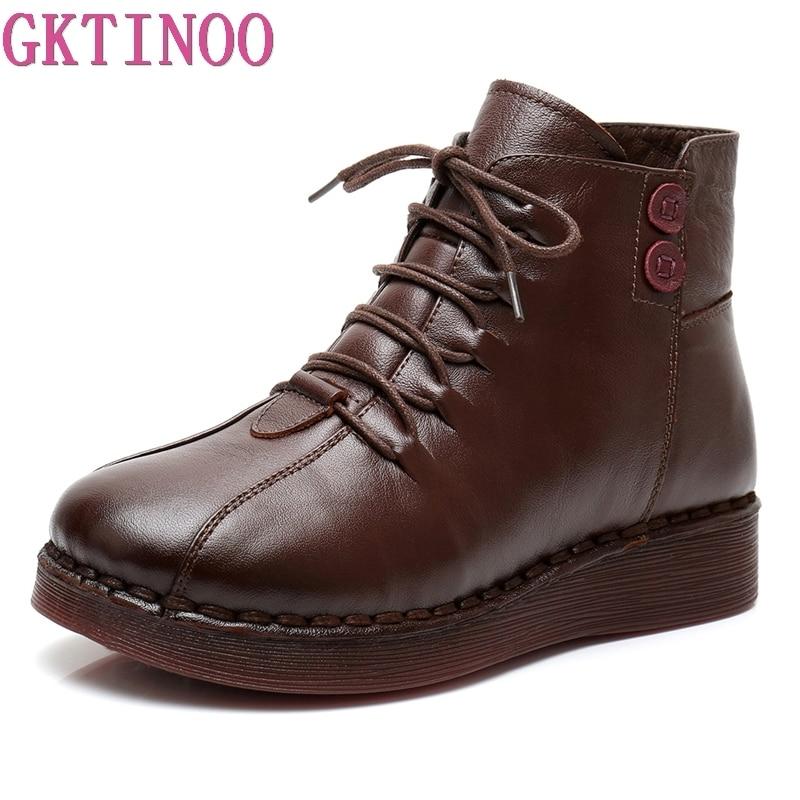 GKTINOO اليدوية حذاء من الجلد الدافئة المخملية الأحذية المسطحة حقيقية أحذية من الجلد الشتاء الثلوج Botines موهير النساء الأحذية-في أحذية الكاحل من أحذية على  مجموعة 1