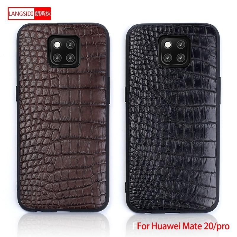 Para Companheiro 20 Genuine Phone case Couro Para Huawei P10 P20 Lite Pro caso do Estilo do Negócio do Triângulo Textura Para O Companheiro 20 pro capa