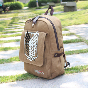 Image 2 - Backpacks For Men Mochilas Para Hombre Attack on Titan Backpack School Bag For Mens bagpack plecak Canvas Laptop back pack APB22