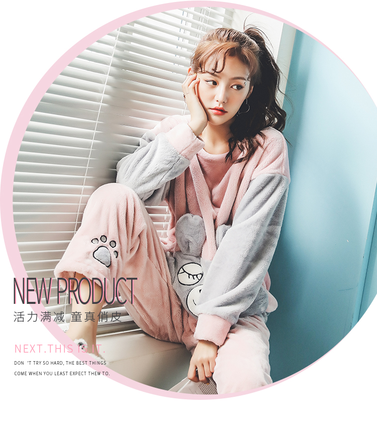 Long Sleeve Warm Flannel Pajamas Winter Women Pajama Sets Print Thicken Sleepwear Pyjamas Plus Size 3XL 4XL 5XL 85kg Nightwear 381