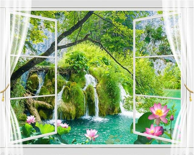 Beibehang Custom Wallpaper Home Decorative Mural 3D Window Outside Landscape Lotus Pond TV Sofa Background