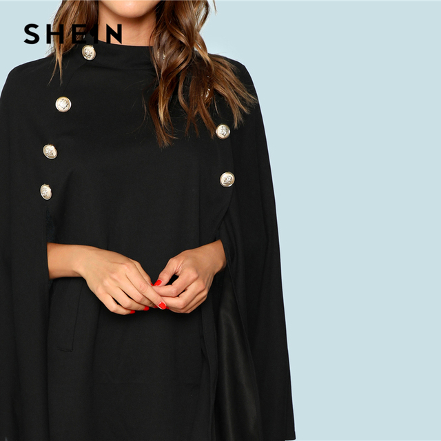SHEIN Black Highstreet Office Lady Double Button Mock Poncho Solid Elegant Coat 2018 New Autumn Women Workwear Outerwear Clothes 3