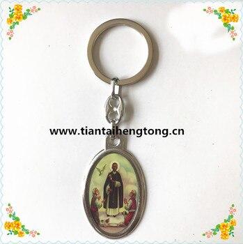 Бесплатная доставка, брелок из сплава Сан Мартин де ПОРРАС с католической эпоксидной иконой, брелок с изображением для оптовой продажи
