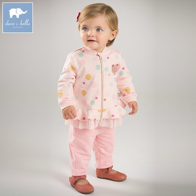 DBZ7309 dave bella spring infant baby girls fashion clothing sets children 2 pc toddler suit children s clothing sets spring