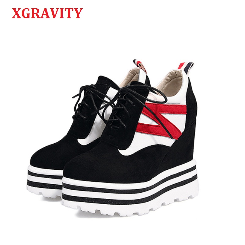 XGRAVITY Spring Autumn Mixed Color Woman Super High Heel Wedge Shoes Elegant Women Casual Platform Shoes Fashion Lace Up A043 woman fashion hidden wedge heel lace up casual shoes spring autumn women s ultra high heels shoes women singles