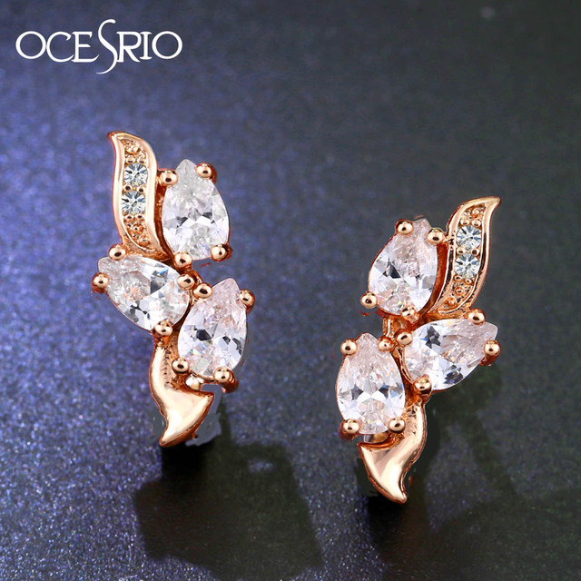 Ocesrio Gold 585 White Zircon Earrings With Stones Leaves Cubic Zirconia Rose