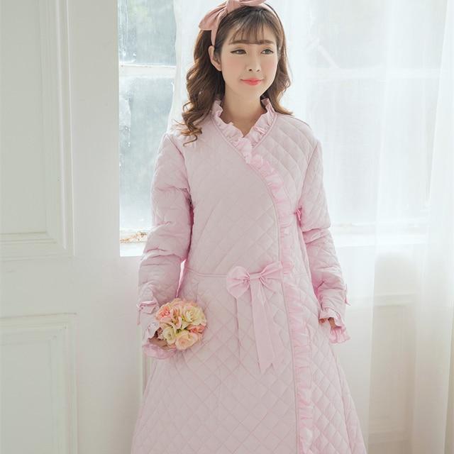 b6ac253573bd Winter Robe Sleepwear Women Warm Robe Thickening Robe Long Nightgown  Princess Sleepwear Robe 100%Cotton-padded High quality