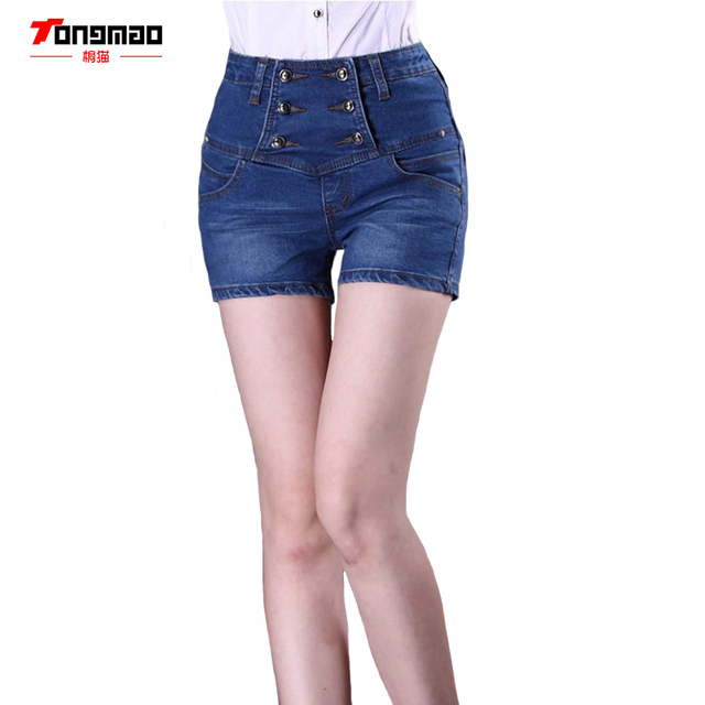 2017 Spring and Summer Women's Large Size High Waist Denim Shorts Fashion Casual Solid Color Double-breasted Waist Shorts