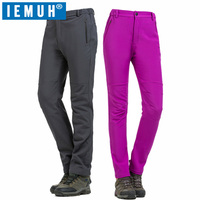 IEMUH Brand Winter Women Hiking Pants Outdoor Softshell Trousers Waterproof Windproof Thermal For Camping Ski Climbing