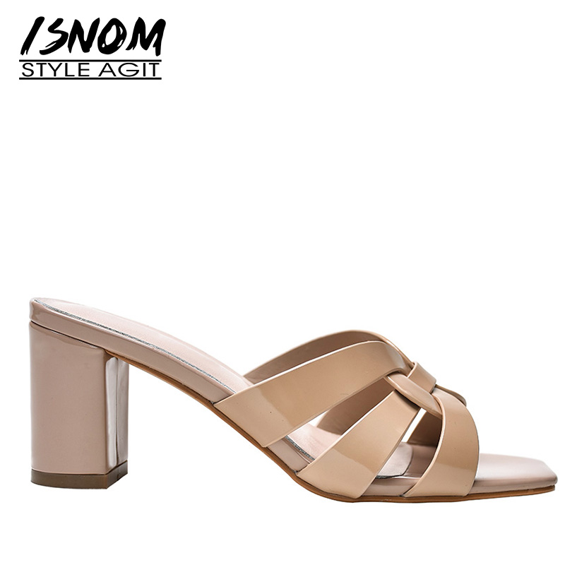 ISNOM Thick High Heels Slippers Woman Open Toe Footwear Fashion Office Slides Shoes Female Mules Shoes