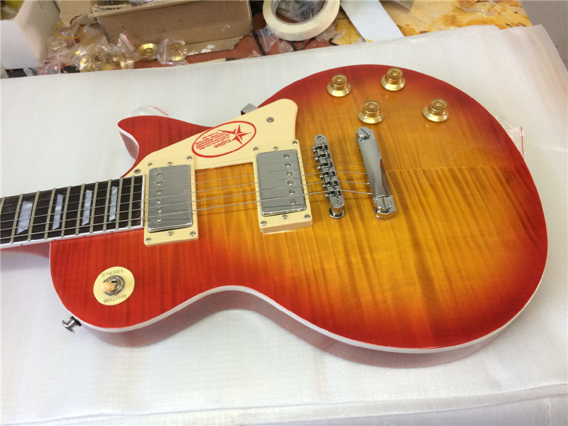 free shipping electric guitar lp standard 1956 oem electric guitar with flame maple top /guitar in china цены онлайн