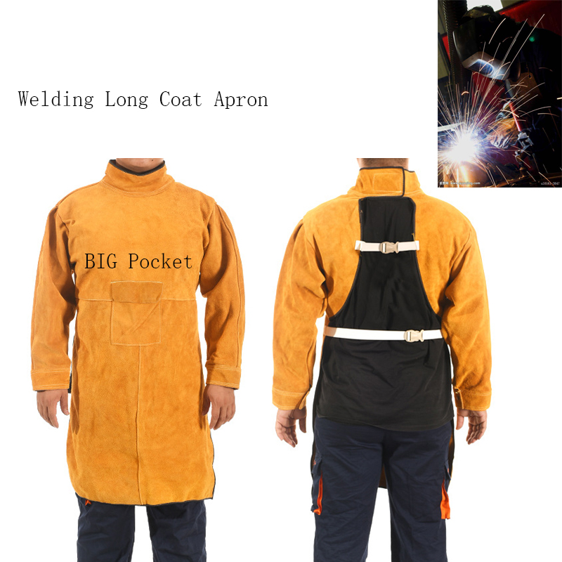 2018 Welding Long Coat Apron Durable Leather Long Sleeved Welder Protective Clothing Flame retardant Workplace Safety Clothing leather welding long coat apron protective clothing apparel suit welder workplace safety clothing