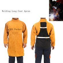 2018 Welding Long Coat Apron Durable Leather Long Sleeved Welder Protective Clothing Flame retardant Workplace Safety Clothing