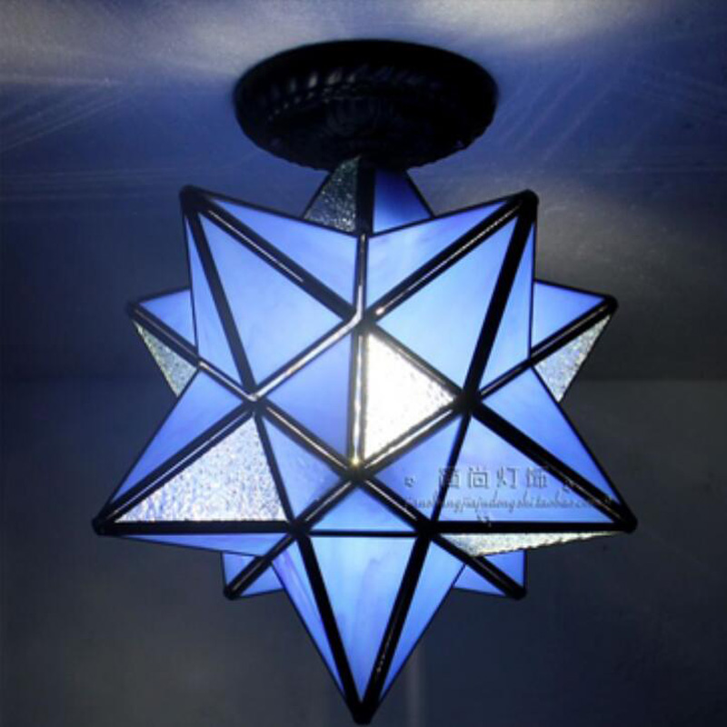 Tiffany Cafe light glass Star ceiling lamps personality living room restaurant bar corridor entrance 1 head ceiling light DF58 creative personality resin lamps corridor restaurant cafe bar study monkey droplight of children room light