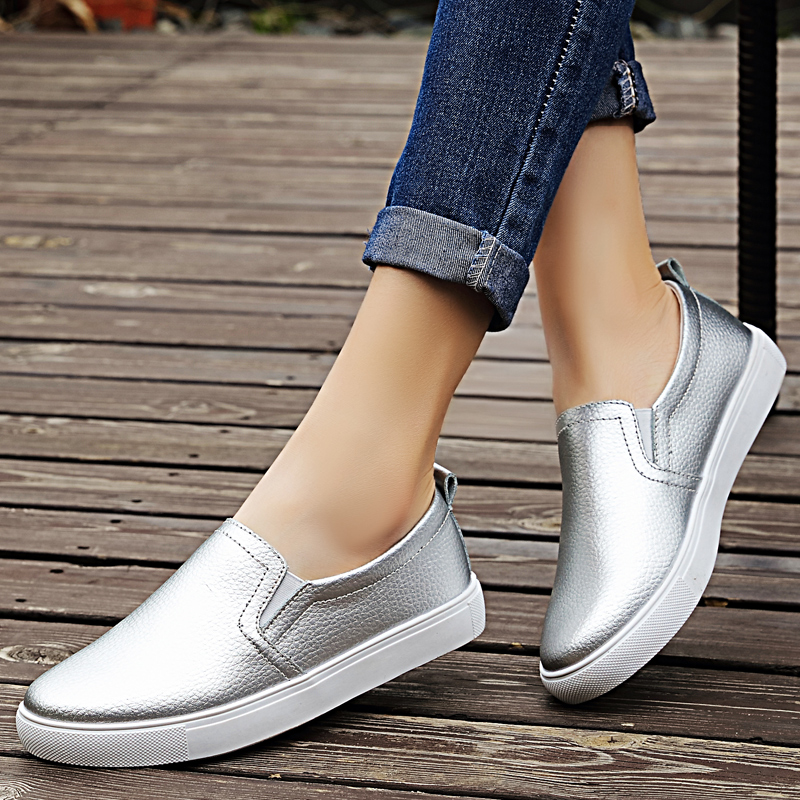 Spring Genuine Leather Flats And Loafers Shoes Women Summer Silver Slip-on Solid Color Women's Casual Shoes Breathable