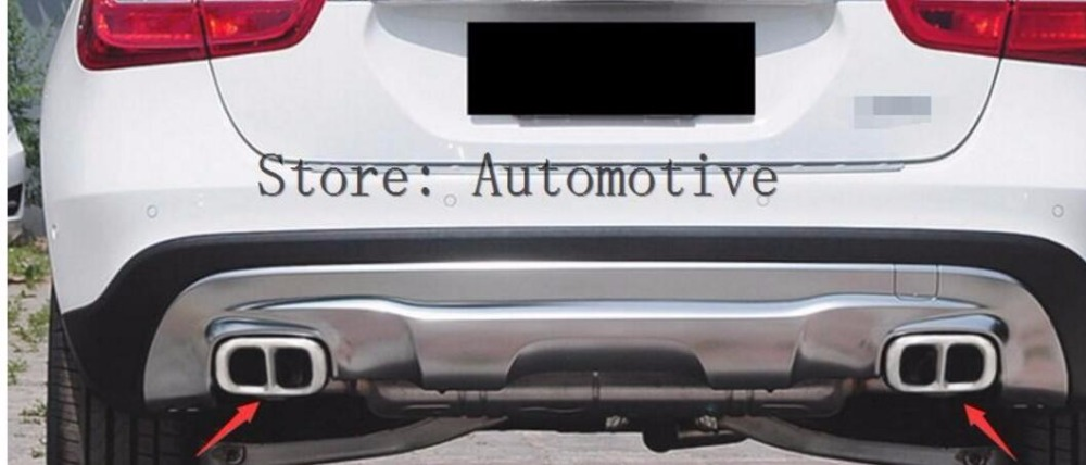 Pour Mercedes GLA180 200 250 GLA classe en acier inoxydable pare-chocs arrière double tuyau d'échappement garniture échappement couvercle 2015 2016