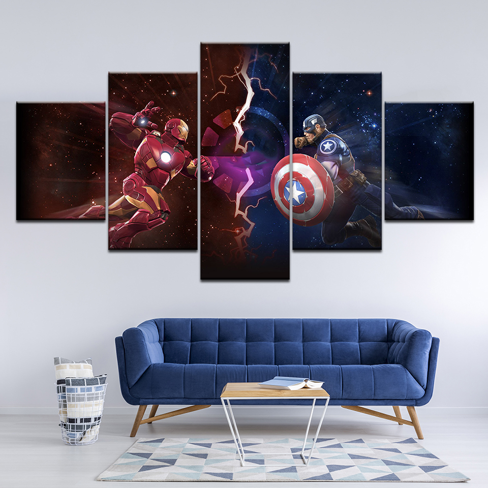 Canvas Wall Art Pictures Home Decor Captain America Iron Man Paintings For Living Room HD Print Movie Characters Posters Artwork