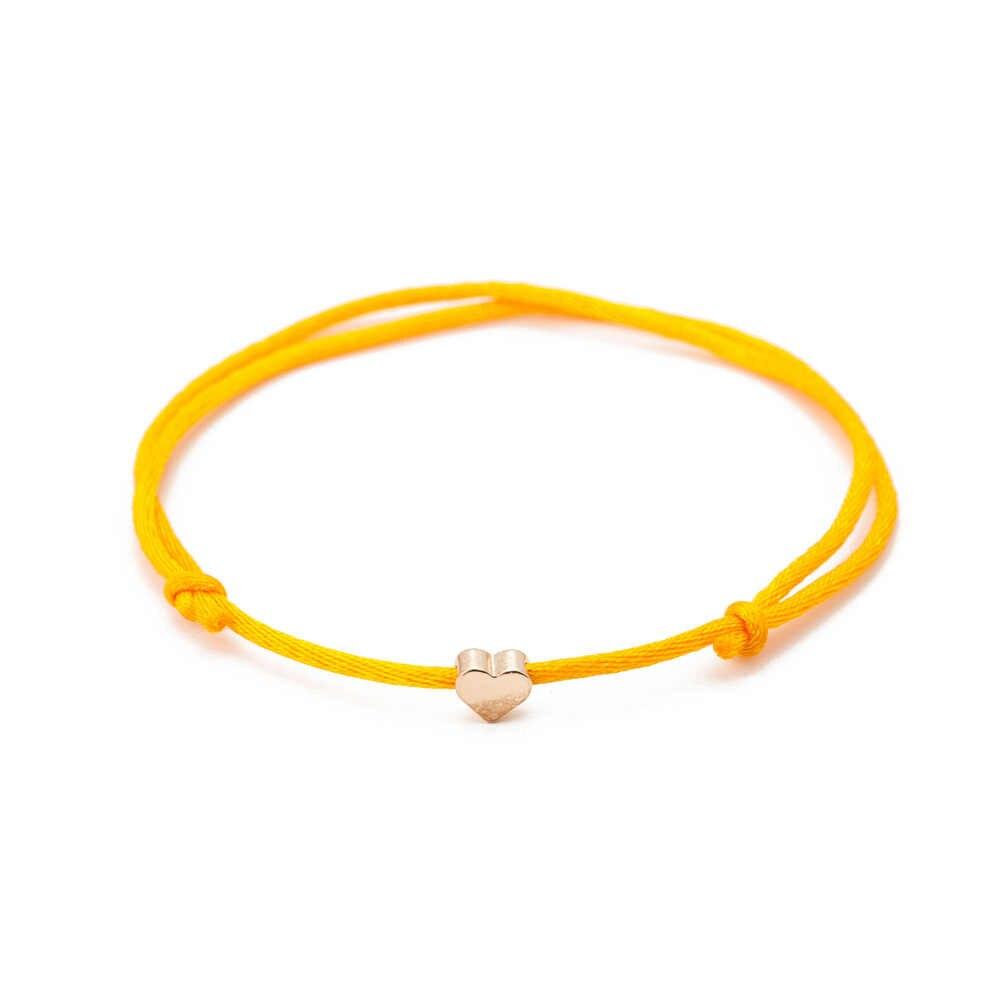 2018 חום חוט מלוטש זהב צבע לב מחרוזת צמיד לנשים גברים בעבודת יד חבל תכשיטי Dropshipping