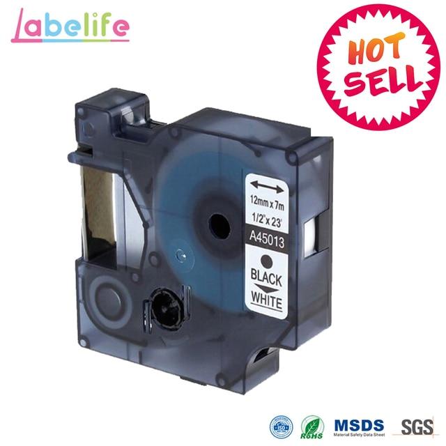 Labelife 1 ชิ้น 45013 S0720530 Dymo D1 manager 12 มิลลิเมตรสีดำบนสีขาวป้ายริบบิ้นสำหรับ Dymo Label Manager 160 280 210