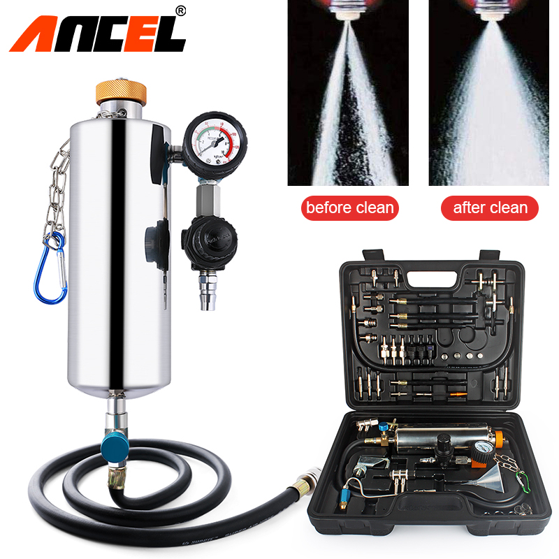 Ancel GX100 Auto Injector Cleaner Kit Non-Dismantle Car Fuel Injector Tester Fuel System Cleaner Car Fuel Injector Washing Tool hot sale 100% original english panel for launch cnc602a injector cleaner