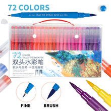 72Color Dual Head Brush Pen Set Water Based Markers Painting Drawing Fineliner Art School Supplies Calligraphy Stationery 24colors set 0 4mm fineliner pen superfine marker pen water based assorted ink arts drawing pen school supplies bts gift pen set