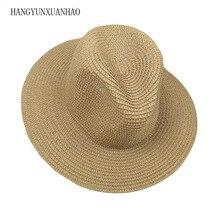 Spring Summer Sun Hat Men Women Wide Brim Beach Ladies Floppy Straw Solid Plain Fedoras Panama