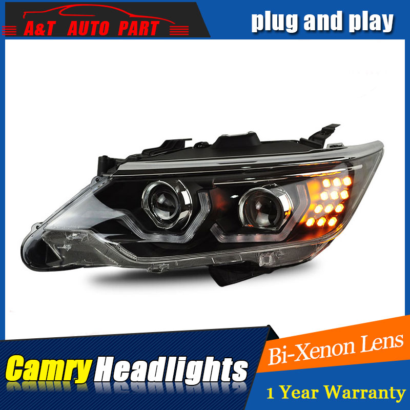Car Styling Led Head Lamp For Toyota Camry Headlights 2017 2016 Drl H7 Hid Bi Xenon Lens Angel Eye Low Beam