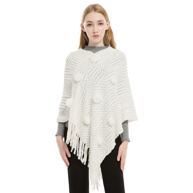fashion ball top poncho pullover women shawls wrap cape sweater out coat pom-pom scarfs loose stoles knitted wraps
