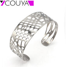 New Design Stainless Steel Trendy Plant Leaf Bangles Bracelets circlets Silver Bangles Gourmettes for Women wholesale jewelry(China)