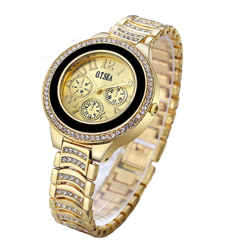 The Best Hottest Selling Clock Fashion Women Alloy Dial Quartz Analog Rhinestone Bracelet Wrist Watch Relogio Feminino #200717 Watches