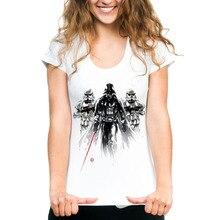 Fashion Ink Print Star Wars T shirt Women Casual O-neck Ladies