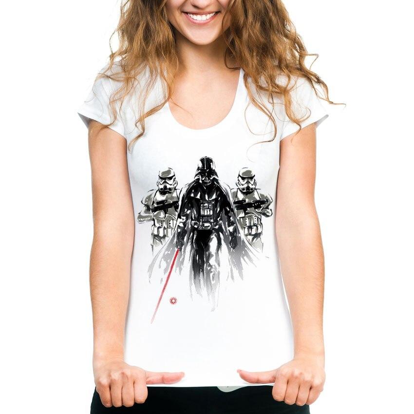 Fashion Ink Print Star Wars T Shirt Women Casual O-neck Ladies Tops Tees Harajuku Dath Design T-shirt Women's Tshirt Femme