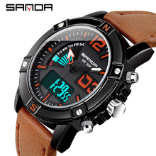Mens Watches To Luxury Brand Men Leather Sports SANDA Quartz LED Digital Clock Waterproof Military Wrist Watch 773