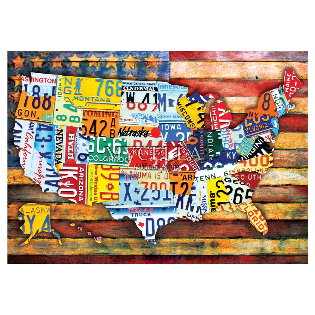 Road Trip USA 5d Diy Diamond Painting Cross Stitch Diamond Embroidery Patriotic Americana Full Rhinestone Mosaic Home Decor image
