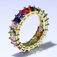 Super Deal Hot Sale New 2019 Luxury Jewelry 925 Sterling Silver&Gold Fill Princess Cut Multi Color 5A CZ Wedding Ring for Women(China)