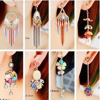 2017 Hot Sale Bohemia Folk Style Color Long Tassel Stud Earrings Earring Orecchini Oorbellen Boucle D