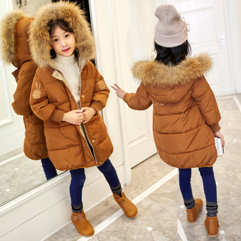 Kids Coat Winter Jacket For Girls Cotton Padded Fur Collar Hooded Outerwear Children Clothing Girl Parkas Infant Jackets & Coats winter coats for girls long outerwear jacket thick warm fur collar hooded cotton padded coat girls parka coats