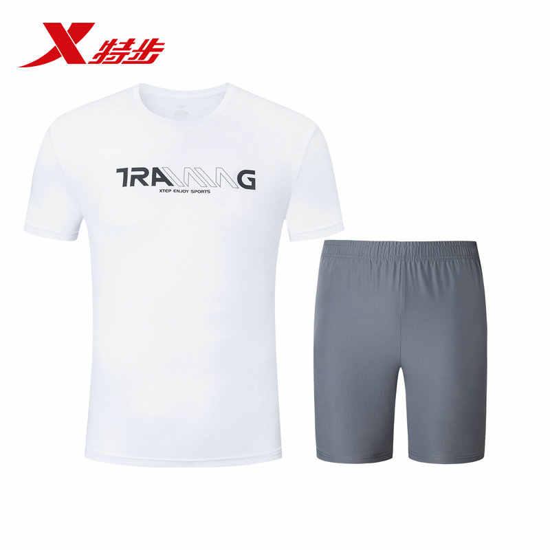 881229959292 Xtep Sneaker Sportswear Set 2019 Musim Panas Baru Cepat Kering 2 Sepotong Set Lima Celana Lengan Pendek t-shirt Lari