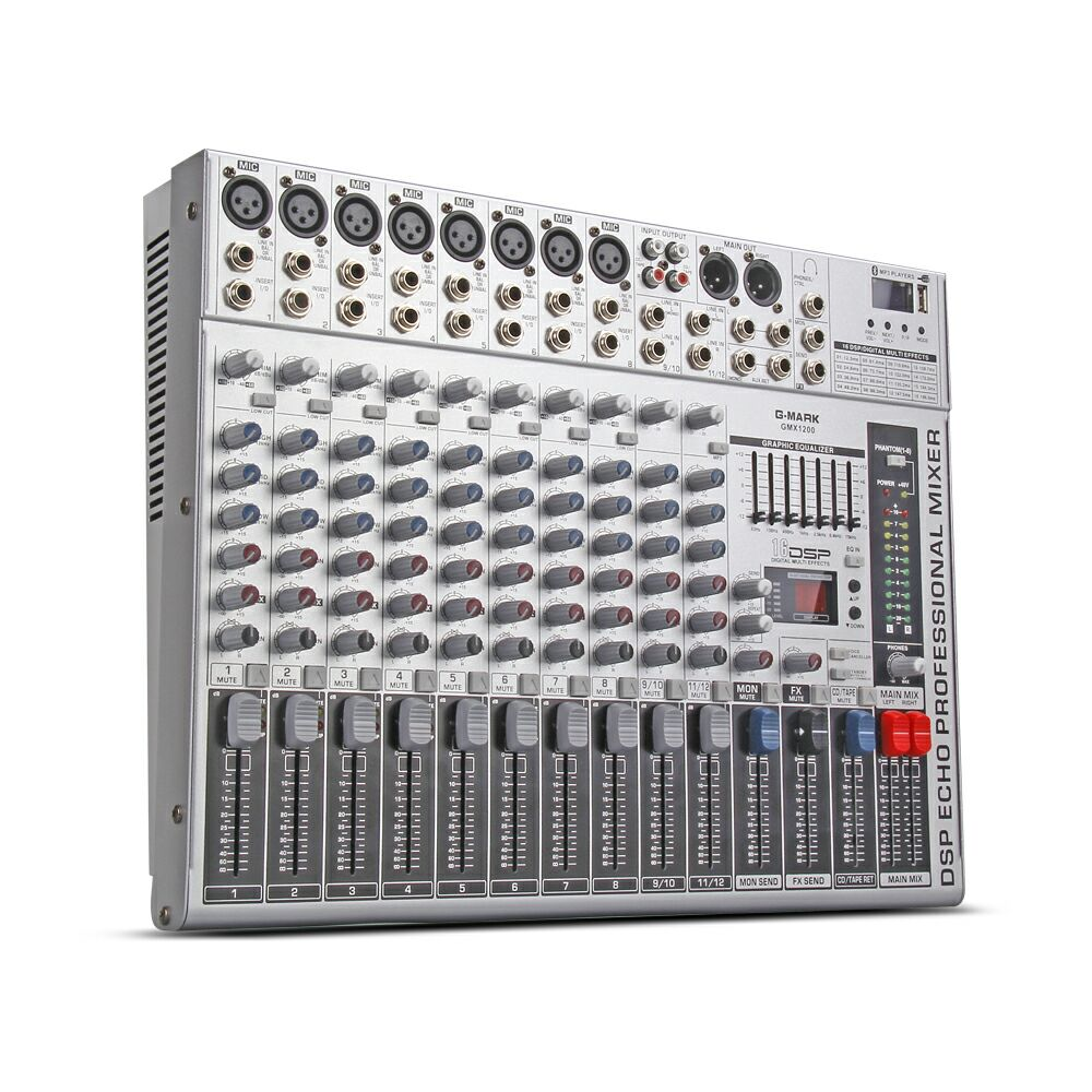 G MARK GMX1200 Professional mixer audio console Music dj Studio 12 channels 8 mono 4 stereo 7 brand EQ 16 effect USB play