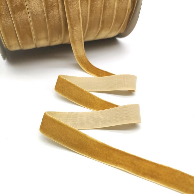 5 ярдов 6-25 мм бархатная лента для украшения свадебной вечеринки ручная работа лента для упаковки подарков бантик для волос DIY Рождественская лента - Цвет: Khaki