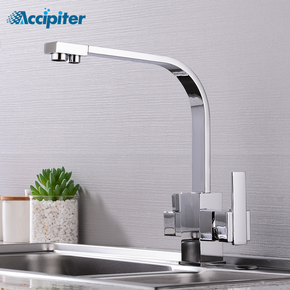 Filter Kitchen Faucets Deck Mounted Mixer Tap 360 Rotation With Water Purification Chrome Mixer Tap Crane For Kitchen