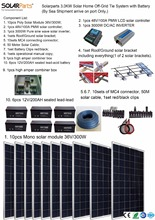 Boguang Solarparts 1x 3000W Solar Home off grid tie systems solar kit by sea 300W Poly