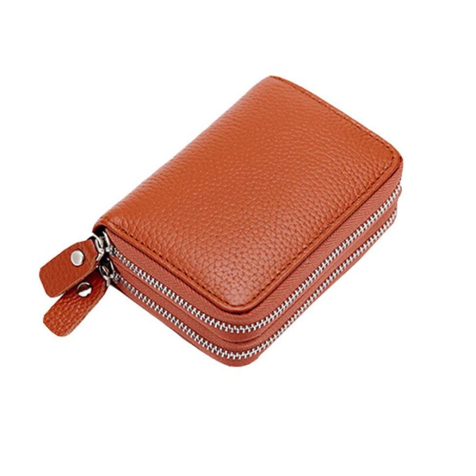 Organ Leather Wallets Women Secure Spacious Girl Coin Purses Double Zipper Wallet Anti Theft Wallets Drop Shopping Coin Purse-10