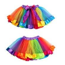 Детская Радужная юбка-американка для девочек; юбка-американка с бантом; юбка-пачка; детская шифоновая Одежда для танцев; фатиновая юбка-пачка для танцев